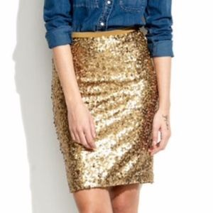 Madewell Antiqued Gold Sequin Skirt